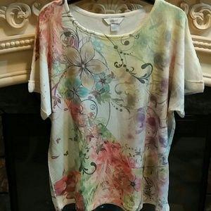 Cj banks knit exotic floral cuff sleeve sz X tunic